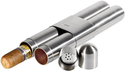 Adorini cigar case high-grade steel satin finish/cedar 2 cigars