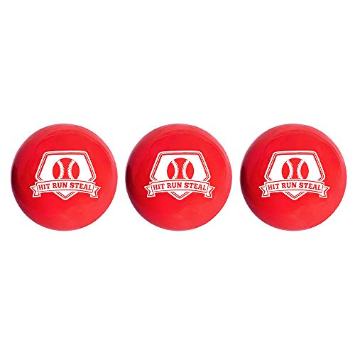 Hit Run Steal Weighted Practice Balls for Baseball and Softball Batting Practice. (3 Balls)