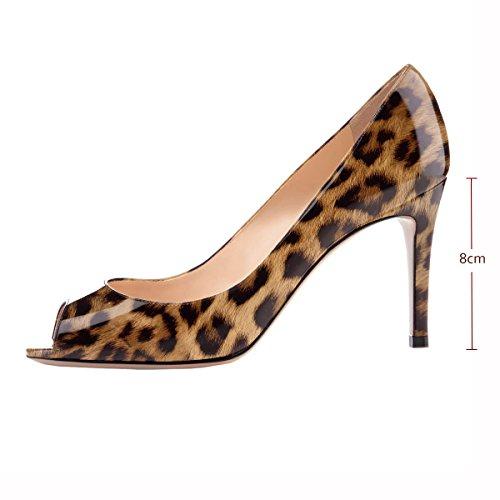 cm abierta 8 oficina Mujeres Clásico Evento Peeptoe Leopard Elashe para fiesta boda Bombas de de alto Bombas corte vestido tacón punta de pPBxSwq
