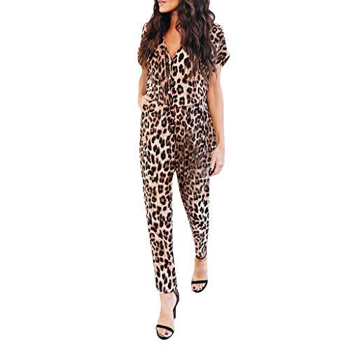 BCDshop Women Summer Leopard Print Short Sleeve V Neck Button Down Jumpsuit Overall Romper(Brown,L)