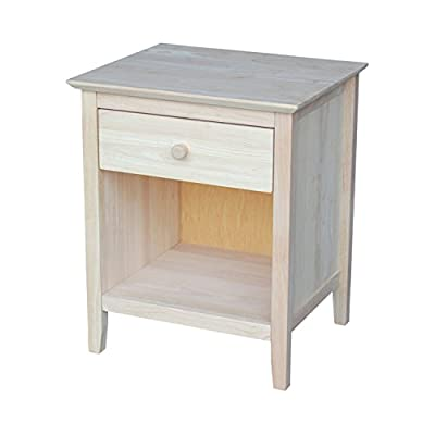 "International Concepts Nightstand with 1 Drawer, Unfinished - Unfinished butcher block top 1 drawer with euro glides Distance from floor to bottom of apron: 3.9"" - bedroom-furniture, nightstands, bedroom - 415mdfwQVJL. SS400  -"