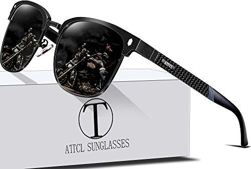 ATTCL Men's Driving Polarized Rimless Wayfarer Sunglasses Al-Mg Metal Frame Ultra Light 8-188 Black (Frame Rimless Metal)