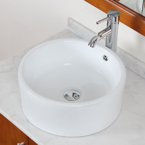 Elite Bathroom Round Ceramic Vessel Sink & Chrome Single Lever Faucet Combo durable modeling