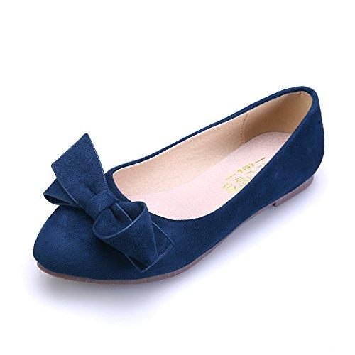 Smilun Women's Ballerina Flat Ballet Bowknot Ballet Flat Slippers Flats Dark Blue