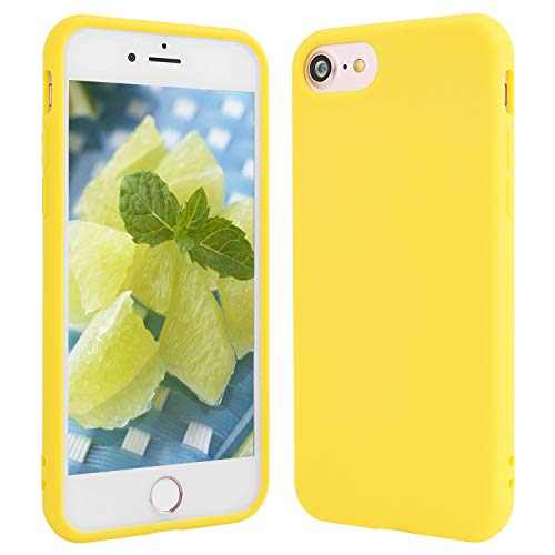 Beatuiphone iPhone 8 Plus Yellow Case,iPhone 7 Plus, Soft TPU Gel Silicone Anti-scratch Shockproof Slim Fit Skin Frosted Full Body Protective iPhone Cover (Yellow)
