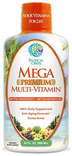 (Mega Premium Liquid Multivitamin - Natural Liquid Multi-Vitamin Anti-Aging Formula w/15 Vitamins, 70 Minerals, 21 Amino Acids, CoQ10 -New Mango Flavor- Gluten Free, Sugar Free -Max Absorption-32 Serv)