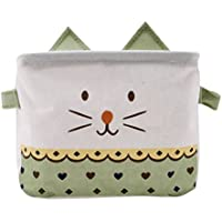 Iumer Storage Basket Cartoon Cat Cotton Linen Baby Toy Storage Laundry Basket Stylish Storage Bag Laundry Organizer,Green