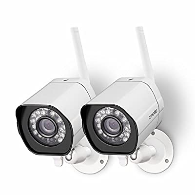 Zmodo Wireless Security Camera System (2 Pack) Smart HD Outdoor WiFi IP Cameras with Night Vision (Renewed)
