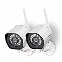 Zmodo 2 Pack 720p High Definition WiFi IP Home Weatherproof Surveillance Security Camera System Holiday Present Wrap