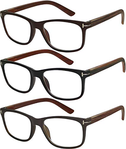 Reading Glasses 3 Pack Great Value Quality Readers Fashion Wood-Look Men and Women Unisex Glasses for Reading +2 ()
