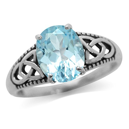 (3.03ct. Genuine Blue Topaz White Gold Plated 925 Sterling Silver Triquetra Celtic Knot Ring Size 6)