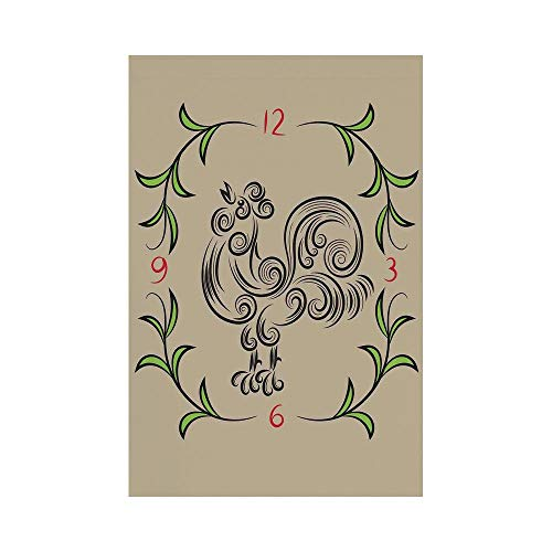 (Polyester Garden Flag Outdoor Flag House Flag Banner,Kitchen Decor,Rooster and Floral Art Decorative Clock Time Swirls Leaves Farm Animal Theme Decoration,Grey Green,for Wedding Anniversary Home Outdo)