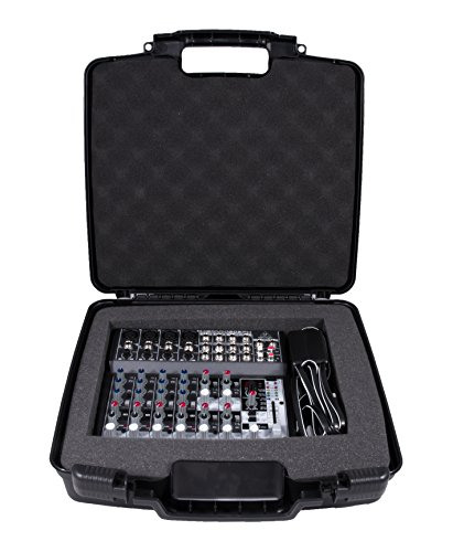 Hard Padded Case (CASEMATIX Custom Case Designed just For BEHRINGER XENYX 1202FX Analog Mixer and 1202 power Supply - Protective Padded Foam Compartment and hard Shell Protects Knobs and Deck)