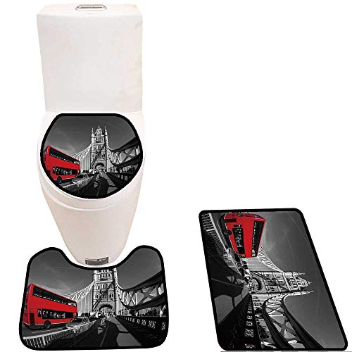 Toilet Cushion Suit Famous Tower Bridge with red Bus in London,England in Bathroom Accessories