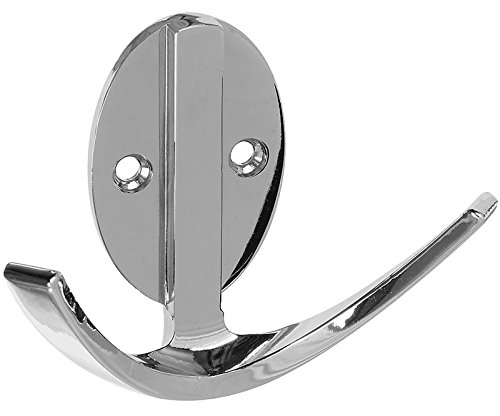 National Hardware N807-002 Stanley Double Robe Hook, 3 in L, Zinc Die Cast, Chrome, Silver