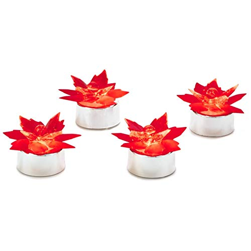 Poinsettia Hallmark (Hallmark Poinsettia Tea Light Flameless Candles, Set of 4 Candles)