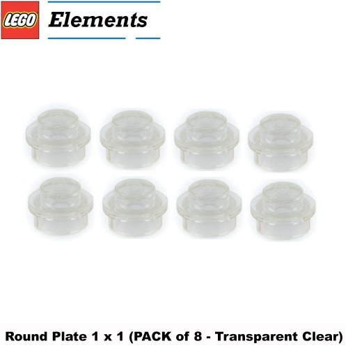 Lego Parts: Round Plate 1 x 1 (PACK of 8 - Transparent Clear) (Fighter Indiana Plane Jones)