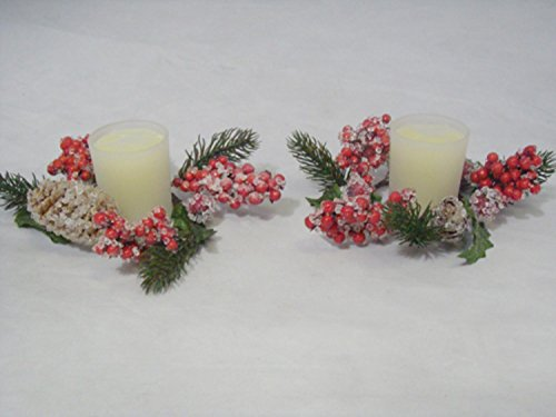 Allstate Glittered Holly and Red Berry Christmas Votive Candle Rings with Candles, Set of 2 ()