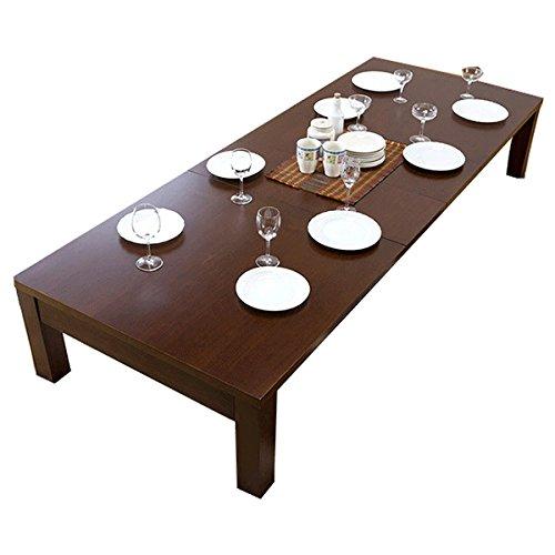 テーブル 伸縮 リビングテーブル 折れ脚 テーブル エクステンションテーブル 天然木 幅120cm 幅150 幅180 ダークブラウン B07KC625RQ