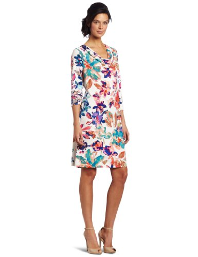 Calvin Klein Women's 3/4 Sleeve Cowl Neck Dress