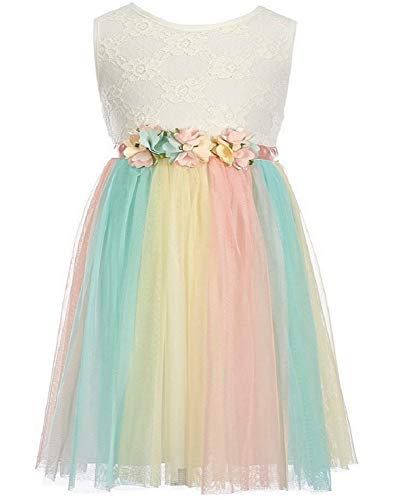 Rare Editions Girls Size 2T-6X White Lace Bodice Pastel Tulle Dress (3T)