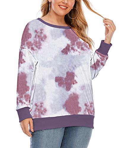 YASAKO Womens Plus Size Casual Tie Dye Camo Print Long Sleeve Shirts Crew Neck Loose Fit Sweatshirt Pullover Tops (Tie Dye-C, X-Large)