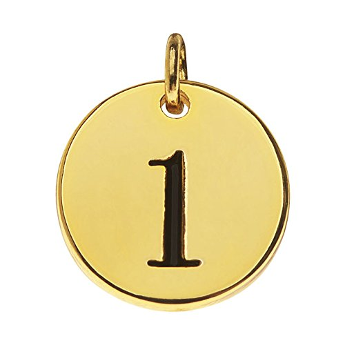 (Beadaholique Lead-Free Pewter, Round Number Charm '1' 13mm, 1 Piece, Gold Plated)