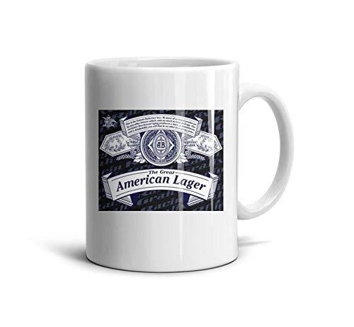 LINXY Budweiser's Label, Banner Coffee Mug White Ceramic Souvenir Mugs Coffee Travel Mug 11 Oz Teacup