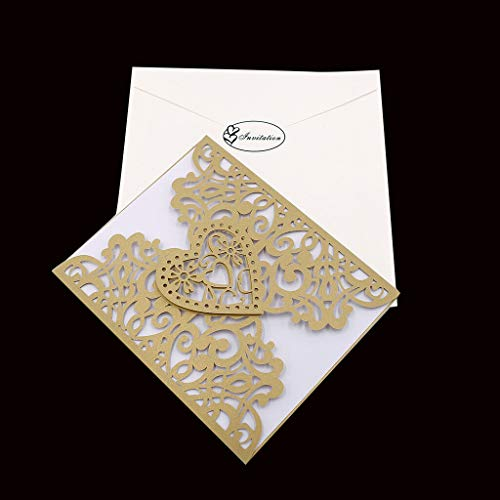 BROSCO 10 Sets Love Heart Invitation Cards Greeting Cards Wedding Party Supplies   Color - -