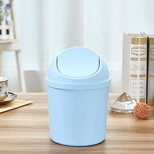 丈夫な Tidyのデスクトップゴミ箱できるストレージバケツプラスチックカバーは、ふた家庭用クリーンシェイクトップごみ箱デスクAshbinで除去することができます (Color : Blue)