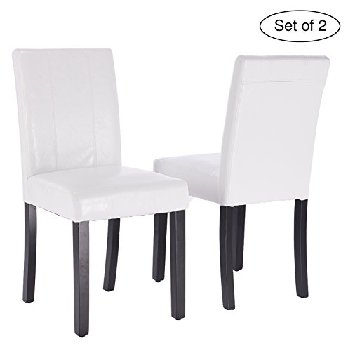ZXBSWELE Set of 2 Leatherette Solid Wood Parson Chair for Dining Room, Living Room, Patio, White