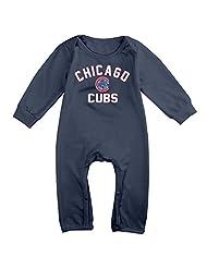 Chicago Cubs Psotseason Fastball Fleece  Romper Jumpsuit Navy Kids Baby
