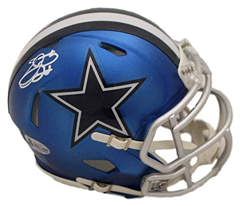 Emmitt Smith Autographed/Signed Dallas Cowboys Blaze Mini Helmet BAS ()