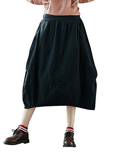 Shaoyao Femme Jupe Taille Haute Vintage Mi Longue Chic Rtro Midi Jupe Plisse Noir