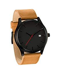 Redvive Low-key Minimalist Connotation Retro Leather Band Analog Alloy Quartz Clock Men's Wristwatch. (C)