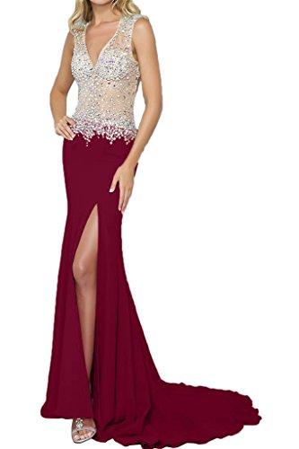fiesta vestido recorte borgoña noche fijo de Elegante ressing piedras vestido Prom V para ivyd Ranura Mujer vestido de rueckenfrei largo UzXHRO