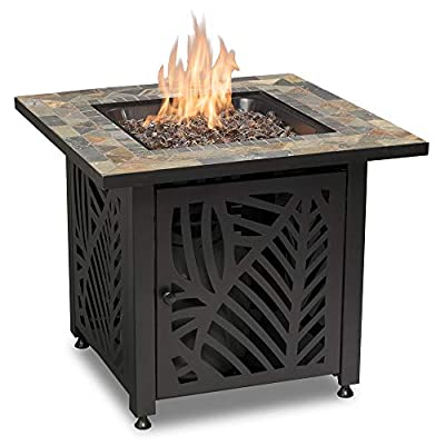 Endless Summer GAD15258SP LP Gas Outdoor Fire Table, Multi Color - Endless Summer Square LP Gas Fire Table with Stamped Steel Leaf Design Base 50,000 BTU Stainless Steel Burner with Integrated Ignition Slate Tile Mantel - patio, outdoor-decor, fire-pits-outdoor-fireplaces - 415miJv23DL. SS400  -