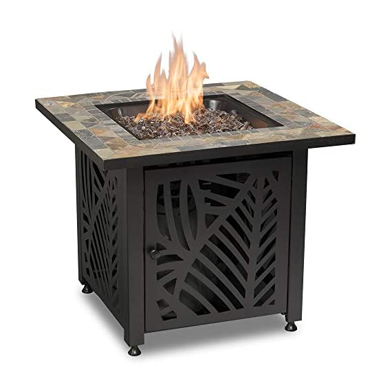 Endless Summer GAD15258SP LP Gas Outdoor Fire Table, Multi Color - Endless Summer Square LP Gas Fire Table with Stamped Steel Leaf Design Base 50,000 BTU Stainless Steel Burner with Integrated Ignition Slate Tile Mantel - patio, outdoor-decor, fire-pits-outdoor-fireplaces - 415miJv23DL. SS570  -