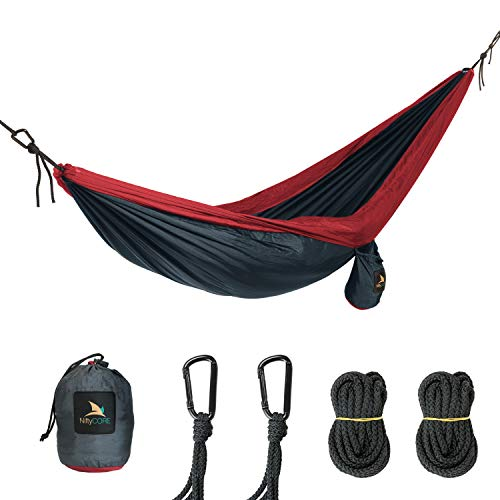 - NiftyCORE Premium Camping Hammock – Portable Lightweight Heavy-Duty Parachute Nylon for Easy Outdoor Tree Hanging, Backpacking, Travel, Beach, Yard – Storage Bag, Carabiners, Rope Included