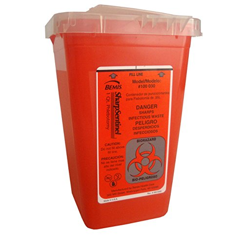 Disposable Biohazard Sharps Container, Large, 8 Gallon, Red, Translucent Container and Lid by RPI