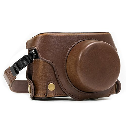 MegaGear Ever Ready Protective Leather Camera Case, Bag for Panasonic LUMIX LX100, DMC-LX100 Camera (Dark Brown) Charger Leather Case Lcd
