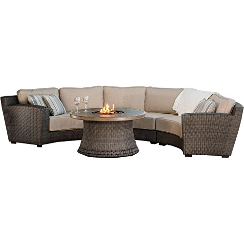 Agio SANRAFAEL4PCFP 4 Piece San Rafael Fire Pit Set (Furniture Agio Wicker)