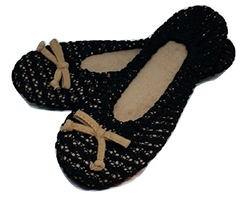 Dearfoams Pantofola Da Ballerina Donna In Pizzo Elasticizzato Nera