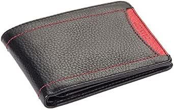 محفظة من الجلد الأصلي من جارد للنقود والبطاقات بلون أسود وأحمر طراز 844