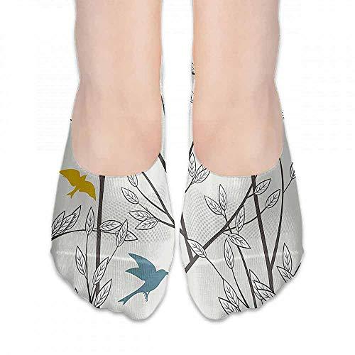 (1 Pair Women Short Socks Nature,Birds Wildlife Cartoon Like Image with Tree Leaf Art Print,Grey Maroon Blue and Mustard Yellow,socks for toddler boys)