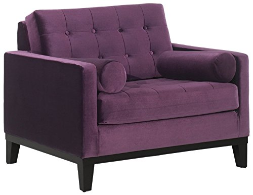 Armen Living LC7251PU Centennial Side Chair in Purple Velvet and Black Wood Finish