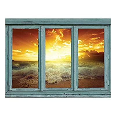Original Creation, Alluring Work of Art, Golden Sunset Through The Clouds as Waves Crash onto a Tropical Beach Wall Mural