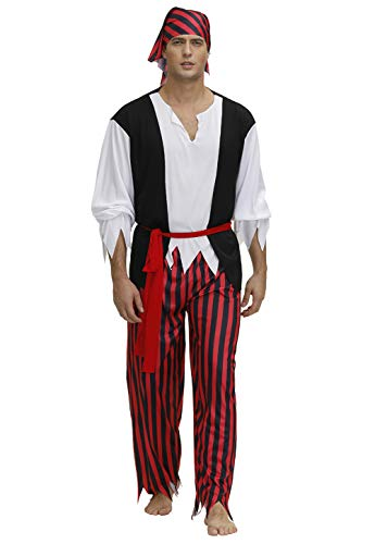 Grebrafan Adult Pirate Costume Rogue Men Halloween Cosplay ()