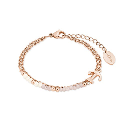 s.Oliver Damen Armband mit Anker-Anhänger aus Edelstahl mit Glassteinen, längenverstellbar
