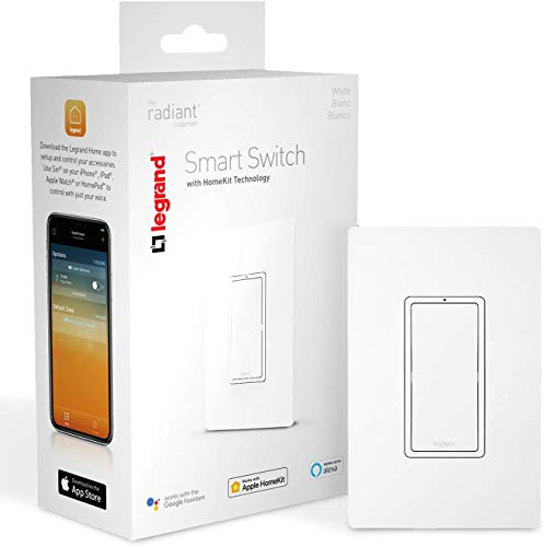 Legrand | On-Q Smart Light Switch, Works with Apple HomeKit, Alexa & Google Assistant, WiFi, No Hub Required, iOS only, Requires Neutral, White, HKRL10WH